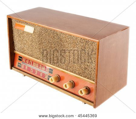 vintage old radio isolated on white background
