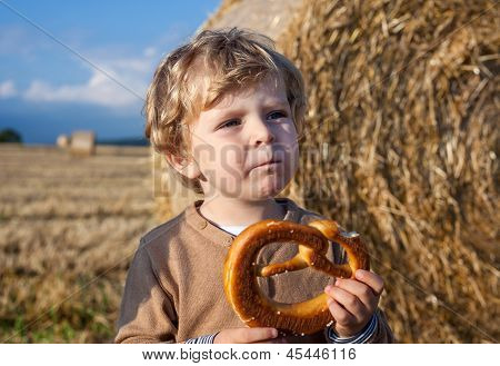 Little Boy Eating German Pretzel On Goden Hay Field