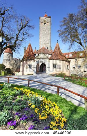 Old town gate of Rothenburg ob der Tauber, Germany