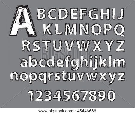 Grunge type effect applied to alphabet and numbers.