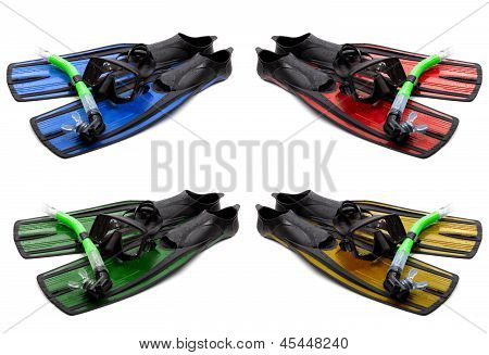 Set Of Multicolored Mask, Snorkel And Flippers With Water Drops