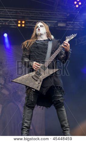 Behemoth performs live on stage at Tuska Festival