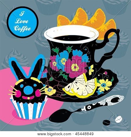 Vector Elegant Cup of Coffee Card Illustration