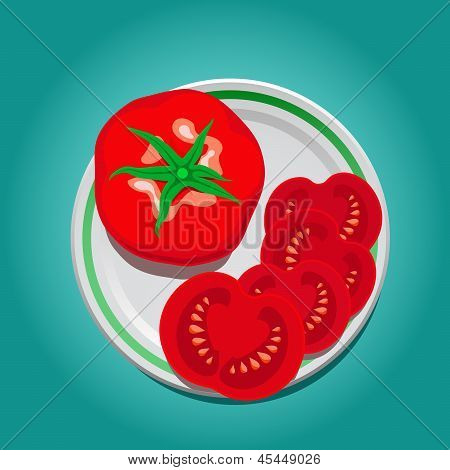 tomato on a plate with slices