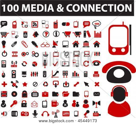 100 media & connection icons: wireless, communication, signal, application, mail, phone