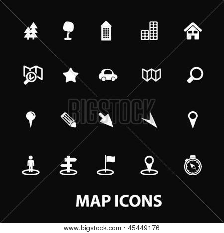 map, navigation, navigator, white isolated icons, signs on black background for design template, vector set