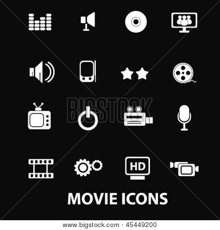 movie, cinema, media, music, tv, video player white isolated icons, signs on black background for design template, vector set