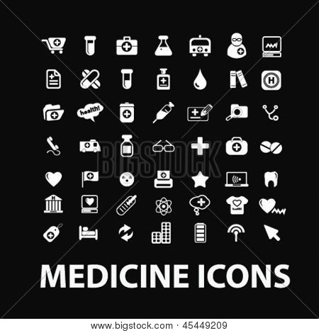 medicine, hospital, health care, insurance white isolated icons, signs on black background for design template, vector set