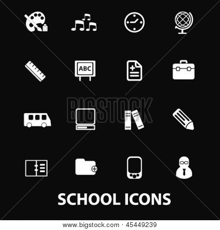 school, kindergarten, nursery school white isolated icons, signs on black background for design template, vector set