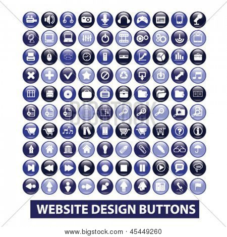 website internet design glossy circle isolated buttons set, vector