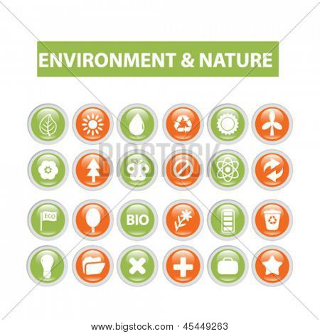 nature, ecology, enivonment icons, signs vector set