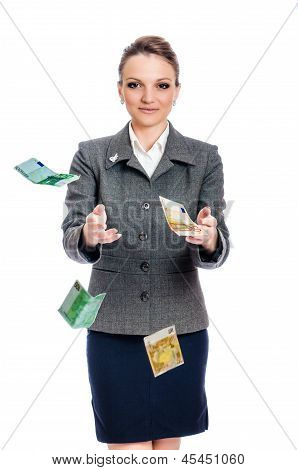 young woman Hands Catching Money
