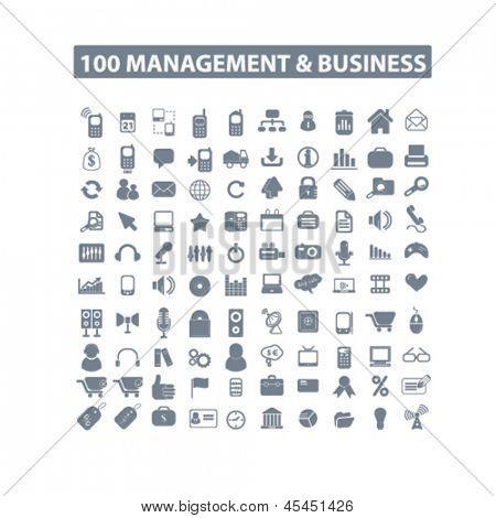 100 gestión de internet, negocios, marketing, finanzas, recursos humanos aislados iconos, señales de conjunto, View