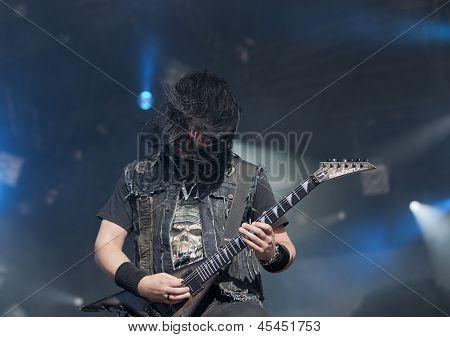 Trivium performs live on stage at Tuska Festival