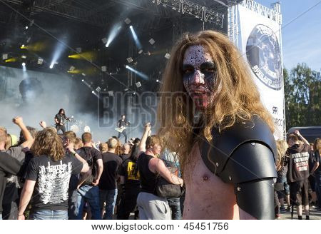 Fan at Trivium gig at Tuska Festival