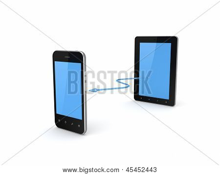 Tablet PC connected to mobile phone.