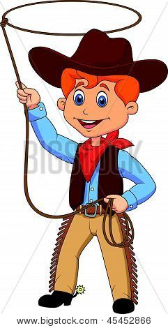 Cowboy kid cartoon twirling a lasso