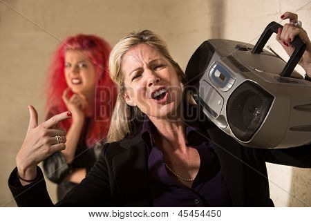 Loud Parent With Radio