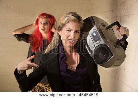 Awkward Woman With Boom Box
