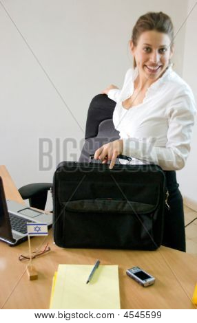 Business Woman Holding Laptop Briefcase