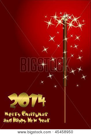 2014 Happy New Year Greeting Card With Sparkler Background