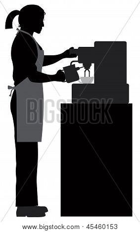 Female Coffee Barista Illustration