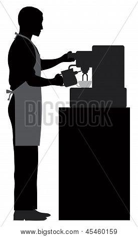 Male Coffee Barista Illustration