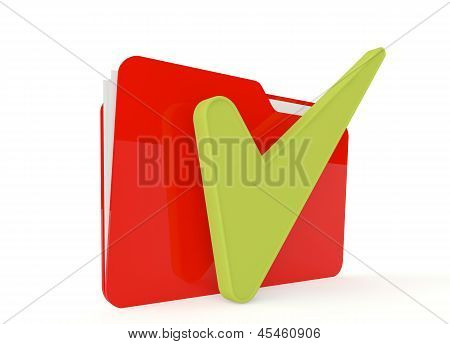3D Image Of Red File Folder With A Right Sign