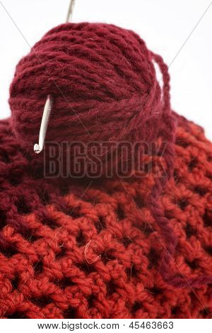 Ball Of Wool And Knitting Hook For Knitted Items, White Background