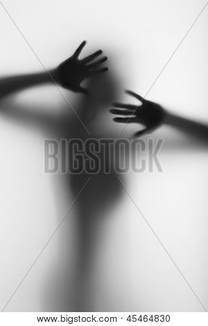 Protecting diffuse silhouette of a beautiful woman