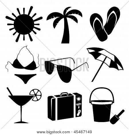 Summer and beach icons on white background