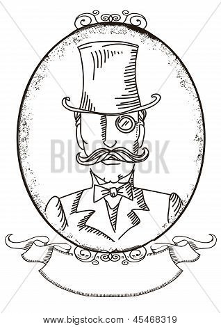 Retro Man Portrait In A Top Black Hat.vector Graphic Illustration