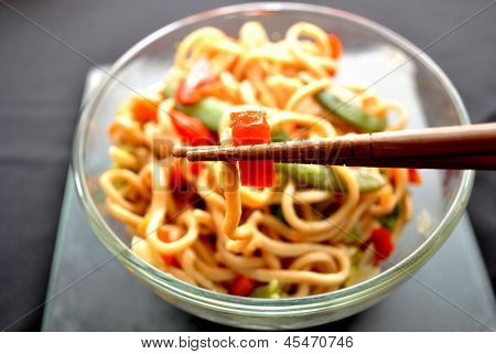 Eating Chinese Lo Mein with Chop Sticks
