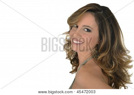 Joy Young Girl On White Background