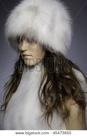 girl in fur clothing