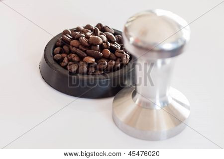 Aluminum Tamper And Roasted Coffee Bean For Barista