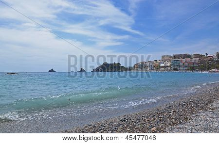 Seaside resort town Almunecar in Spain, panorama