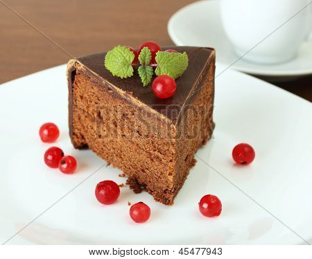 delicious chocolate cake with  red currant