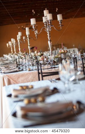 Decorated Tables At Indoors Wedding Reception. Selective Focus