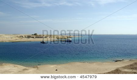 Ships At Bay. Beatiful Seascape In Egyptian Desert. Red Sea, Egypt, Africa.