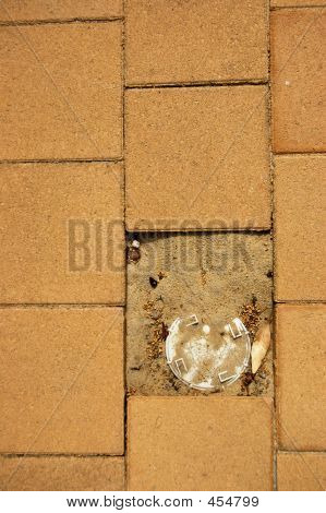 Brick Floor With A Broken Brick
