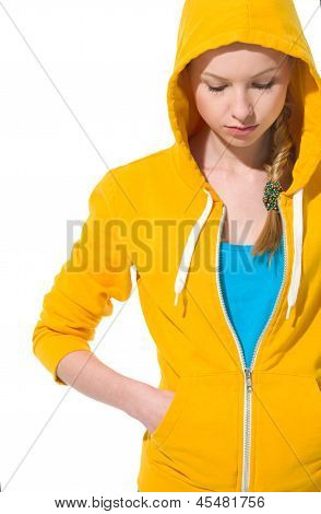 Closeup On Modern Teenager Girl In Sweater With Draped Hood