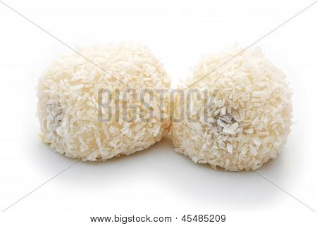Chinese Dessert, Mochi On A White Background