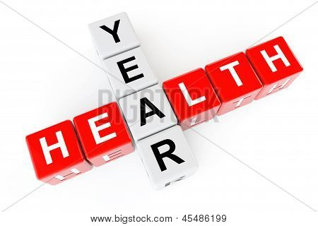 Healthcare Concept. Cubes With Health Year Sign