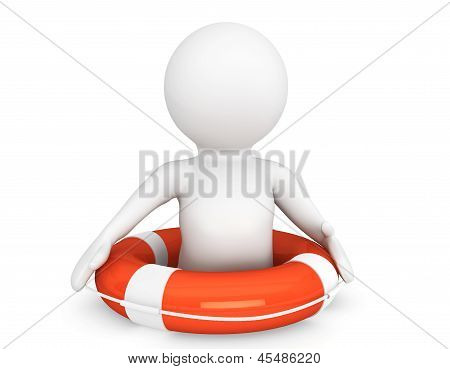 3D Person With Life-buoy