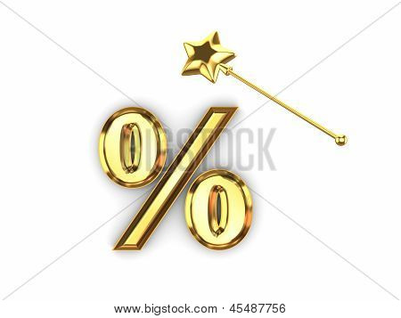 Symbol of percents and magic wand.