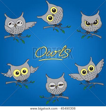 Cartoon owls in different moods