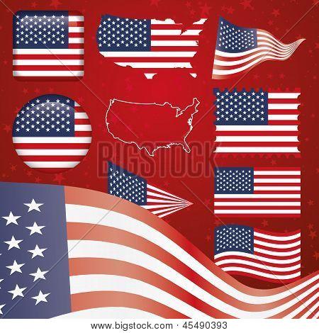 United States of America symbol set