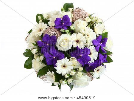 Bouquet Of White Roses, White Gerbera Daisies And Violet Orchid.
