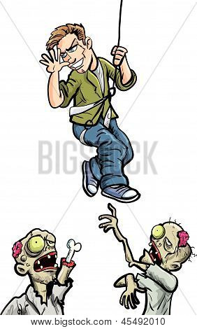 Cartoon illustration of man taunting zombies Isolated on white